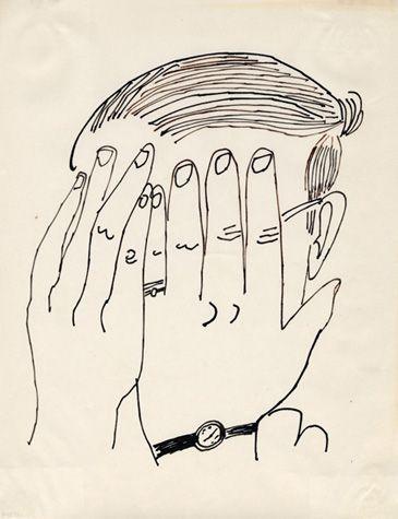 Andy Warhol (American, 1928-1987)  Self-Portrait, ca. 1953  ink on bond paper  11 x 8 1/2 in. (27.9 x 21.6 cm.)