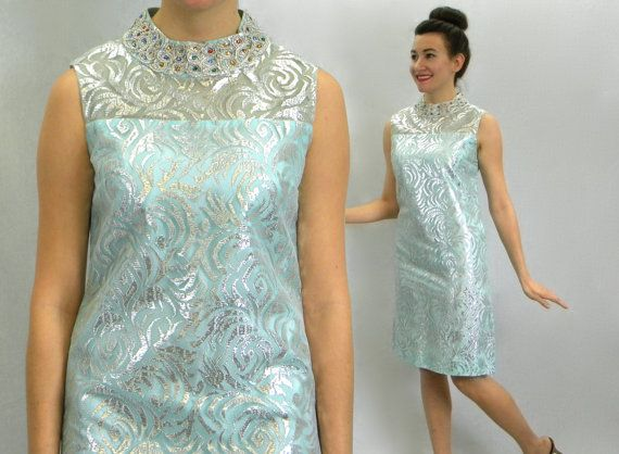 Vintage 60s Blue Beaded Party Dress  by GlennasVintageShop on Etsy