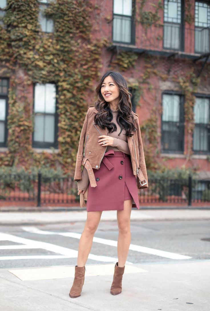 BLANKNYC suede moto jacket + Chicwish trench pink skirt + Uniqlo ribbed long sleeve + Sam Edelman Blake Bootie brown + Gucci soho disco bag | extra petite