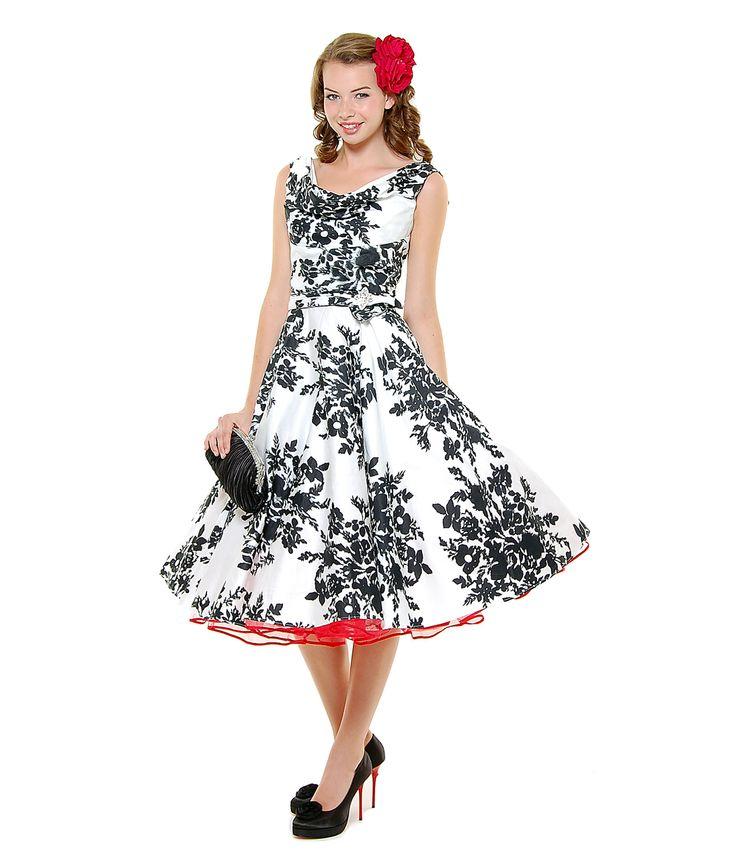 BEST SELLER! Unique Vintage Black White Blanc! Noir! Fleur! Scoop Neck Belted Swing Dress (19800-K-53) van Unique Vintag...Price - $132.00-XlLrBr6o