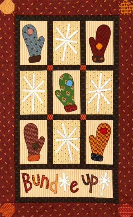 "Holiday Quilt Projects | AllPeopleQuilt.com.   ""Bundle Up Quilt"".  Make a warm and welcoming wall hanging with cotton prints and homespuns in rich, inviting hues.  Get the free quilt pattern here.  Related Links Festive Table Toppers Holiday Sewing Projects Easy Christmas Tree Ornaments Tags: christmas crafts"