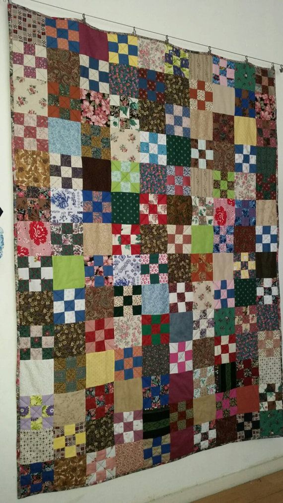 a home made vintage 9-patch quilt van kwastkwijtenquilts.