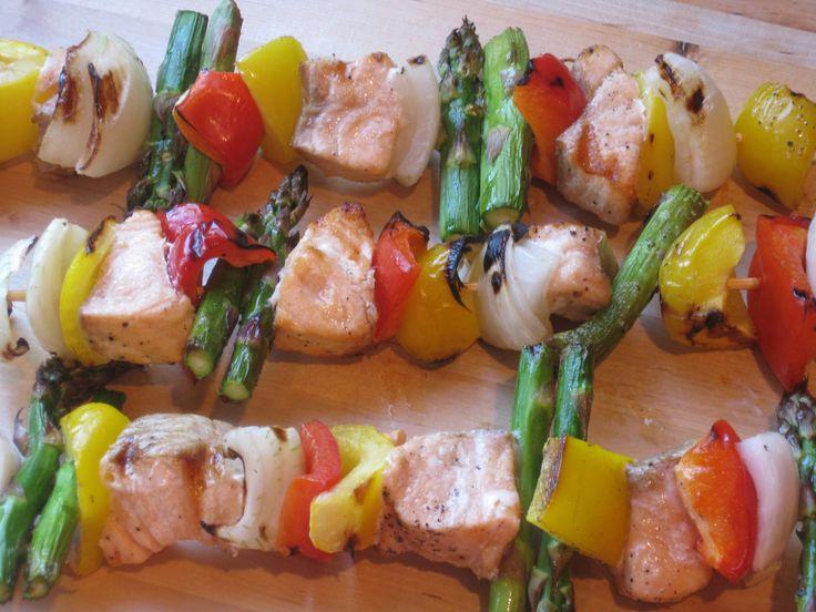 Grilled salmon kabobs