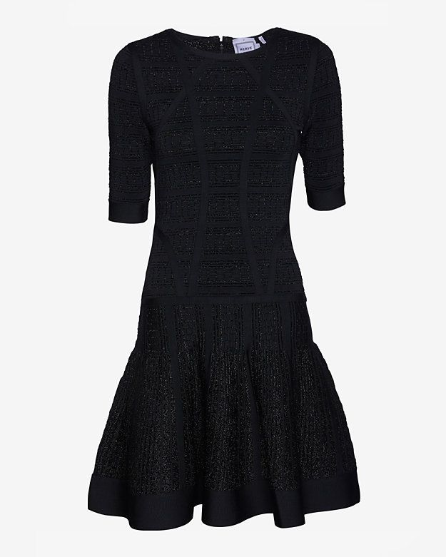 Lurex Short Sleeve Flare Dress Black In store!
