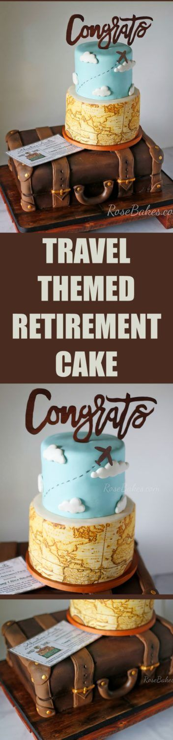 """A Surprise Retirement Party with a Travel / Suitcase Themed Retirement Cake. Our theme was """"Permanent Vacation""""! Click on over to Rose Bakes for all the cake and party details /pics!"""