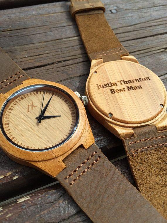 Wood watch engraved wooden wrist watch minimalist design handmade for men women unisex for Watches engraved