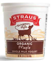 It's made with organic maple syrup and organic maple extract. Even people who don't like yogurt love this one! Organic maple syrup and extract, combined with rich, tart yogurt make an exquisite flavor combination that balances tart and sweet. All Straus Family Creamery's certified organic yogurts are Non-GMO Project Verified, certified kosher and gluten free. Available in 32oz. recyclable containers. [Just add pecans]