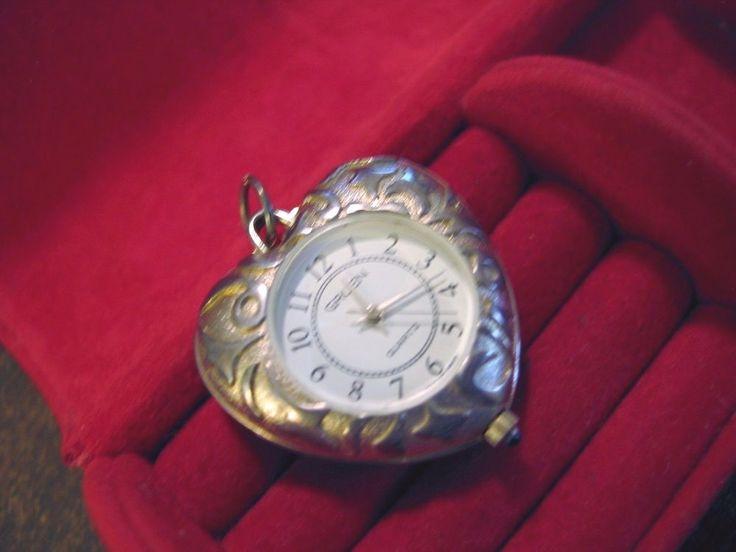 Vintage Gruen Watch Pendant Reversible Heart Shape Ornate  Faux Turquoise Silver #GRUEN