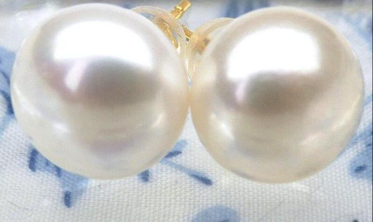 Selling  Perfect round 9.7mm AAA+++ white south sea pearl stud earring