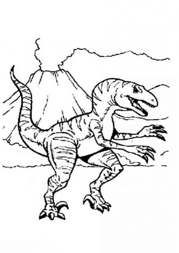 Allosaurus Allosaurus And Active Volcano Coloring Page Dinosaur Coloring Pages Dinosaur Coloring Animal Coloring Pages