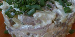 Зимний салат с языком