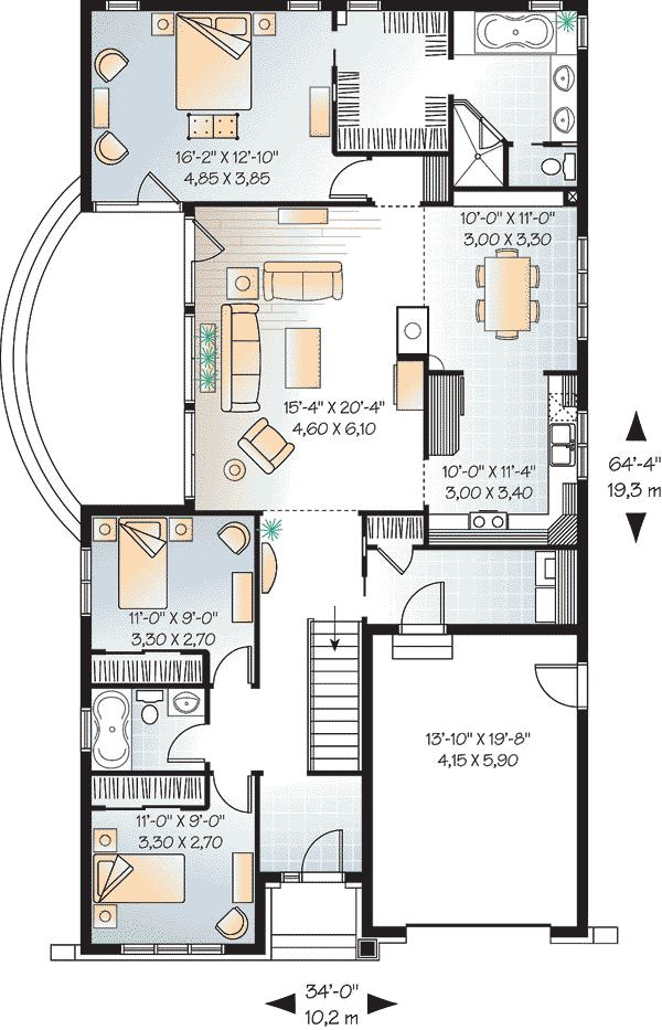 First Floor Plan of Bungalow   Country   Craftsman   House Plan 65435