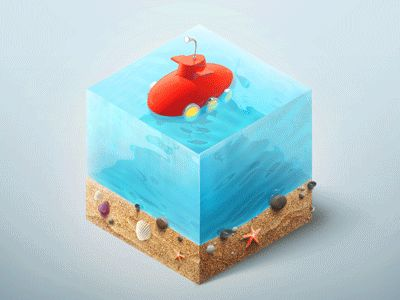 Just a little sneaky submarine living in a sweet cube of water. It was a great experiment with 3D animation and shaders.  Hope you enjoy!
