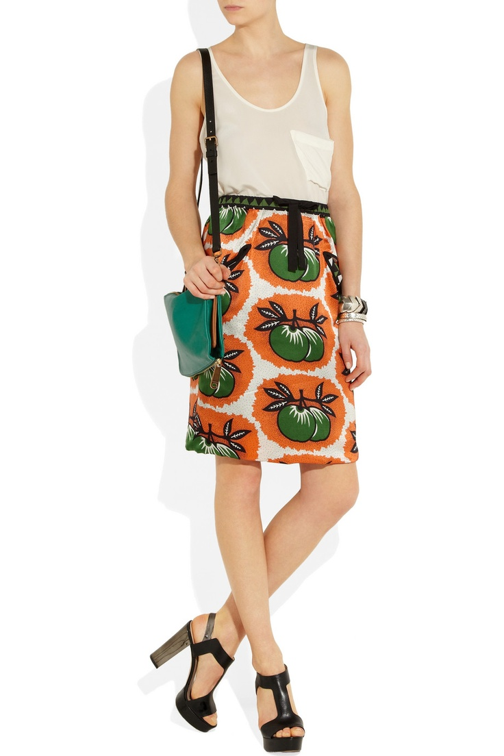 easton pearson printed silk-satin skirt.