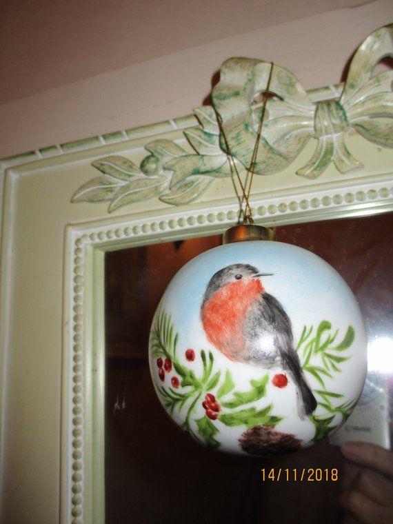 Boule de Noël peinte main sur porcelaine/ rouge gorge | Etsy