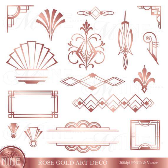 Rose Gold Art Deco Clip Art Art Deco Clipart Accents Art Etsy Art Deco Borders Art Deco Artwork Art Deco Design