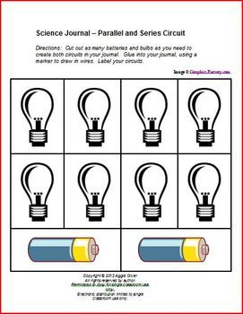 Students can demonstrate their understanding of electrical circuits by building a parallel circuit and a series circuit using these cut-outs. Can be used as a stand-alone activity, science journal entry or student-generated bulletin board.