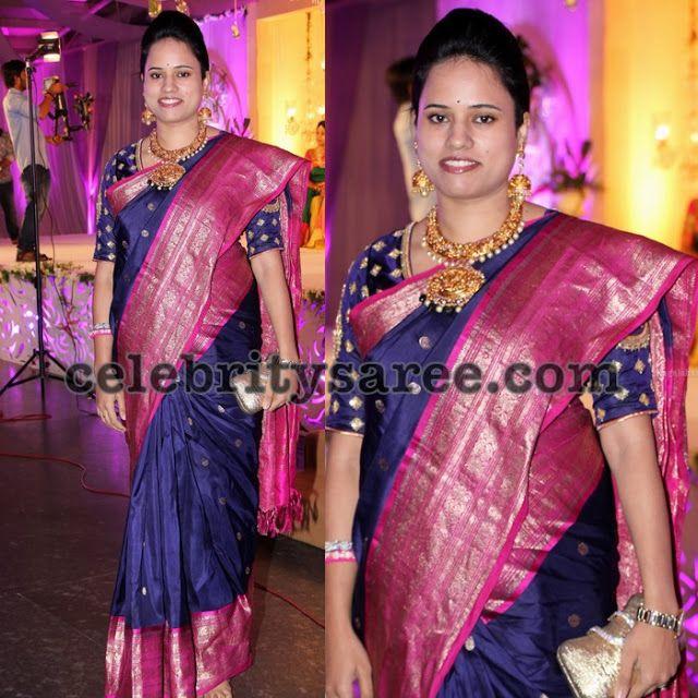 Grey Big Border Silk Saree - Saree Blouse Patterns