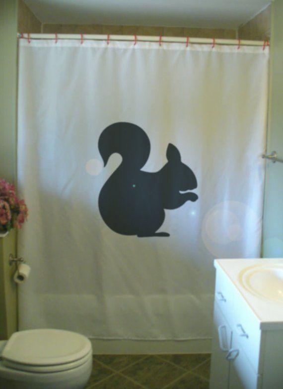 Squirrel Shower Curtain Tail Nut Nibble Frisky Cute Wild Animal Hoard Bathroom Decor Kids Bath Curta
