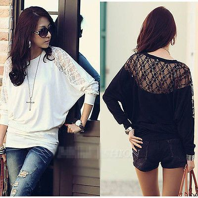 2014 Women's Ladies Batwing Loose Blouse Top T-Shirt Dolman Lace Long Sleeves US $6.49