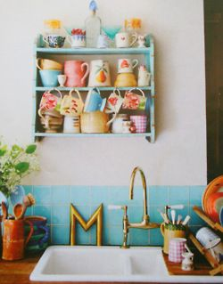 kitchen: Happy Kitchen, Kitchens, Interior, Blue Tile, Country Living, Teacup