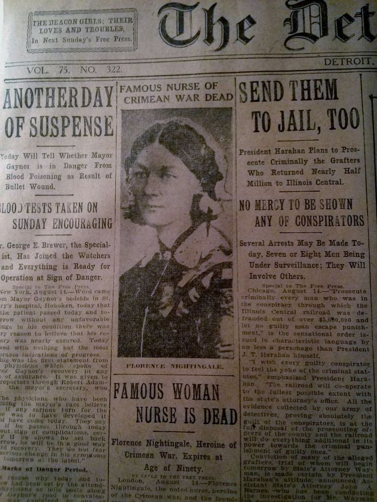 AUG 15 1910 NEWSPAPER PAGE 4622 FLORENCE NIGHTINGALE