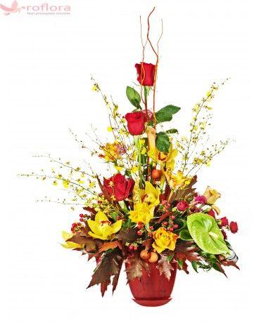 Explozie de energie – Aranjament din orhidee, trandafiri, minirose si anthurium