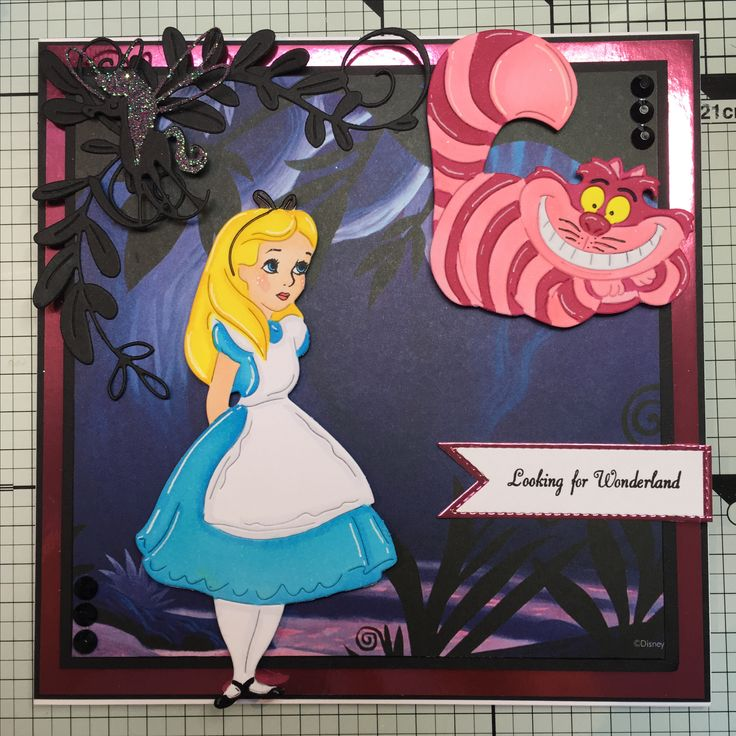 Disney Alice in Wonderland dies and paper pad coloured with Copics