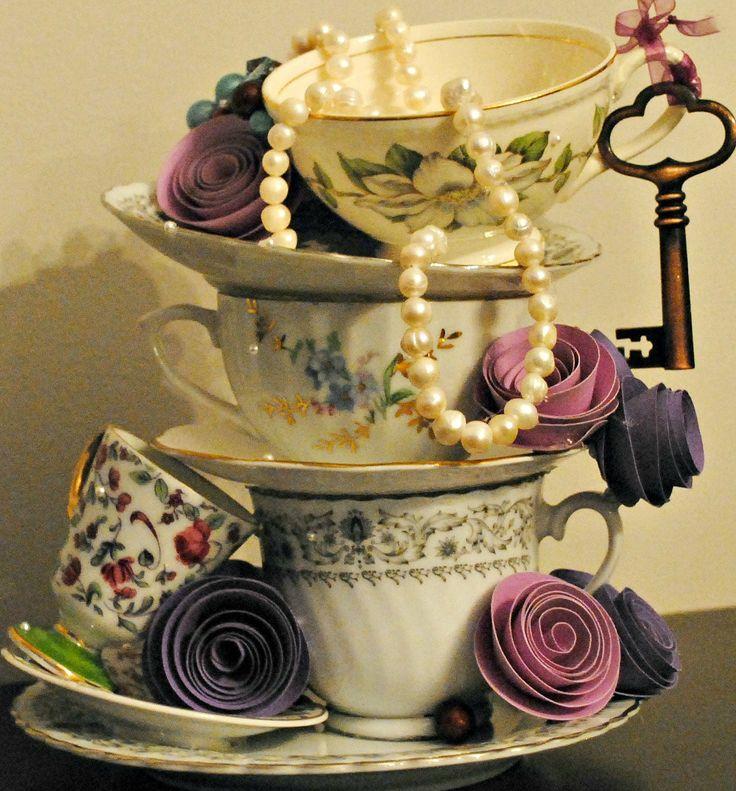 Stackable teacups teapot centerpiece 3 tea cups high for Tea party centerpieces