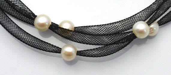 Freshwater Pearl Mesh Tubing Necklace  Pearls of Joy by LIHDesigns, $155.00