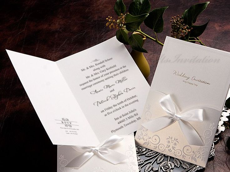 Save Up To On Exclusive White Ribbon Pocket Elegant Wedding Invitations  Vintage Unique Modern Affordable U0026 Cheap Invitation Cards Invites RSVP