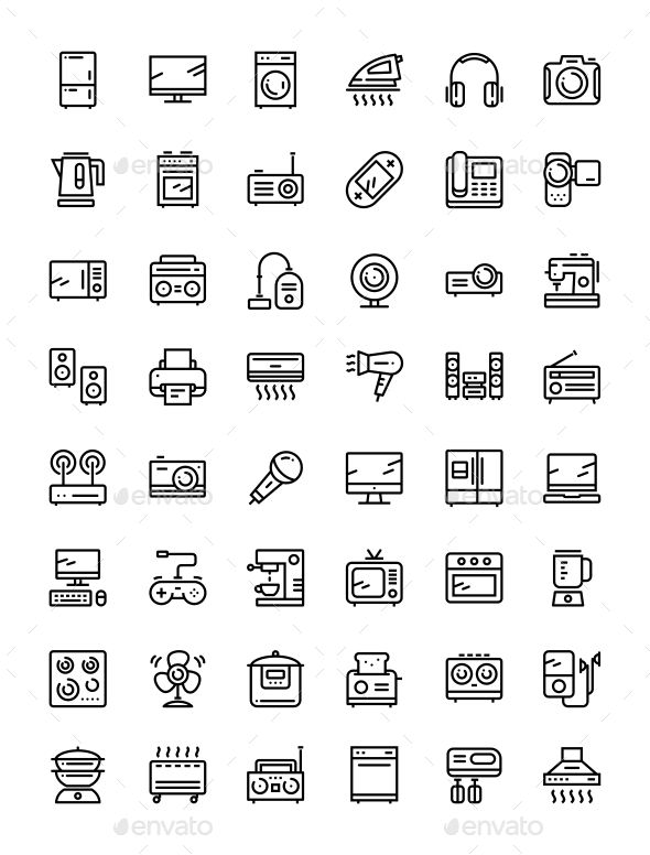 Household Electronic Appliances, Technics, Gadget Device Icons for Web and Mobil…