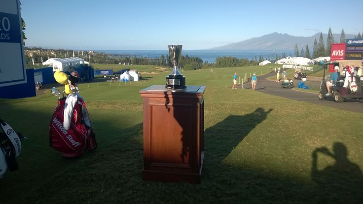 Here is a photo of the Hyundai Tournament of Champions trophy sitting on the first tee at Kapalua. #HyundaiTOC #Troon #TroonGolf #PlayTroon