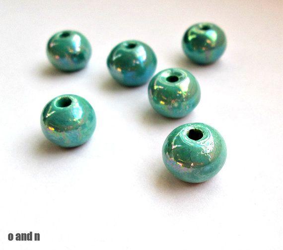 Round greek ceramic beads enameled beads turquoise 12mm  by OandN #beads #jewelrymaking #diyjewelry #craftsupplies #jewelrysupplies