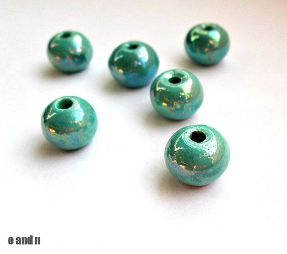 Round greek ceramic beads enameled beads turquoise 12mm  by OandN #beads #jewelrymaking #diyjewelry #craftsupplies #jewelrysupplies