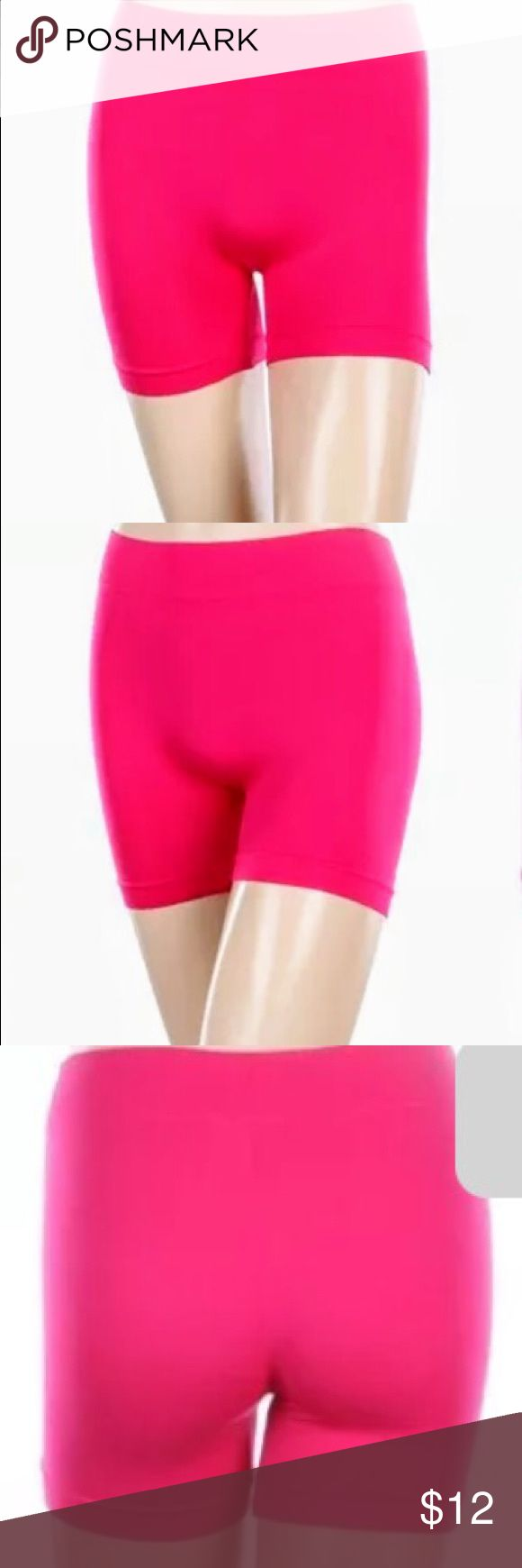 New color plus size bikers pants hot pink This is a stunning color for summer days 💕new color hot pink plus size comfortable keeps the heat out cold in 💕💕💕great stretch silky soft elastic waist band love plus  Shorts Skorts