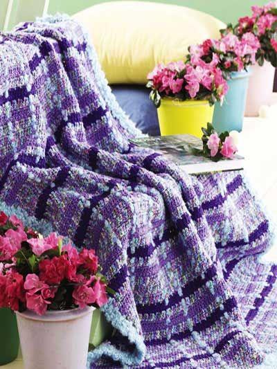 Monet Plaid Afghan free crochet stripes afghan pattern