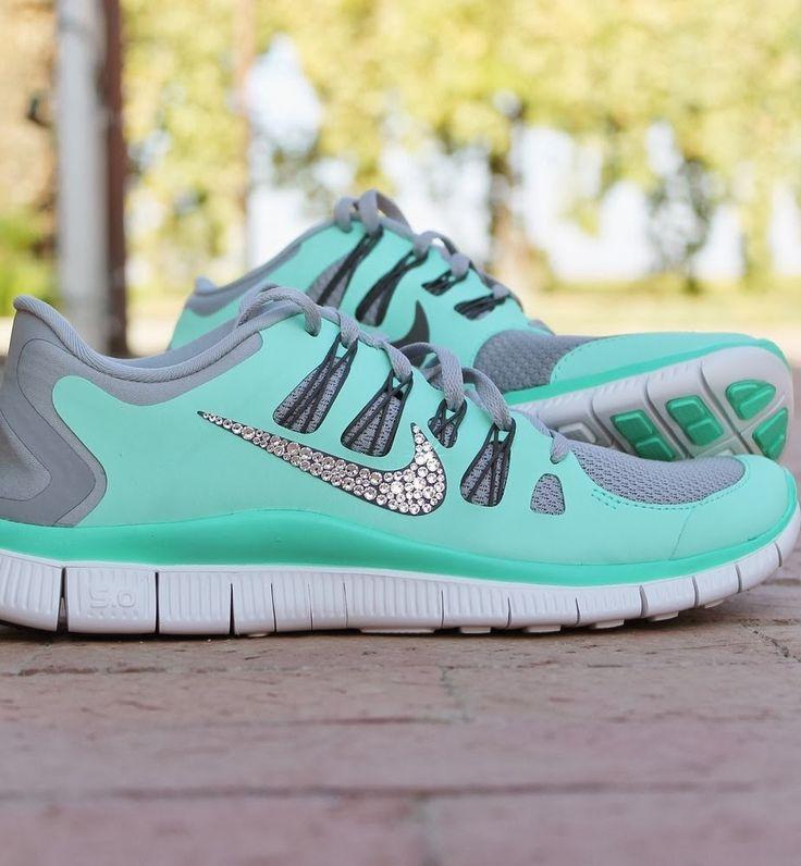 Aqua and Gray Glitter Nikes #Nike #Glitter #Running Shoes