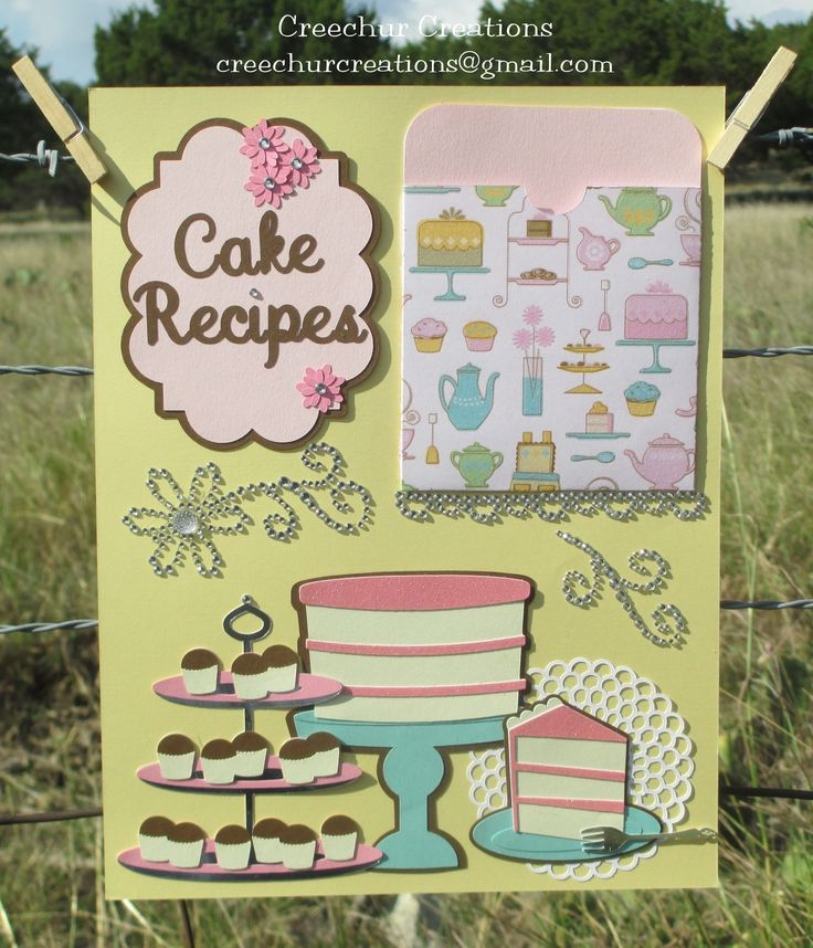 """Recipe page using """"From My Kitchen"""" and """"Sweet Shop"""" Cricut cartridges.  The pocket is designed to hold recipe cards."""