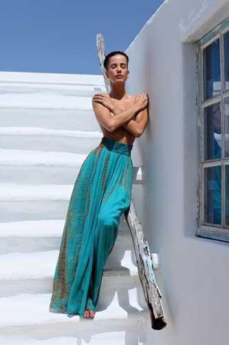 MONIQUE LESHMAN St. Tropez High Waisted Wide Leg Lounge Pant in Azul