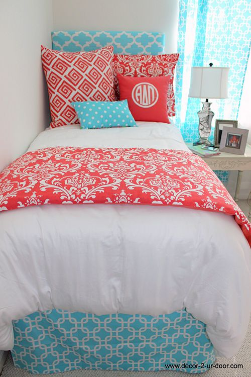 Coral Teen Bedrooms | coral damask designer teen dorm bed in a bag color me coral with coral ...