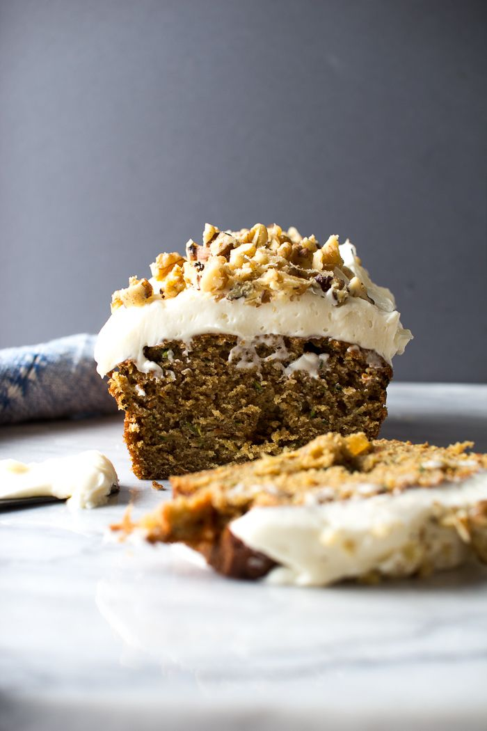 Carrot Zucchini Bread with Cream Cheese Frosting and Walnuts | Flourishing Foodie