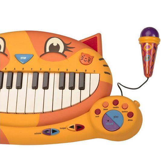 Grâce à ce piano chat, joue les notes et accords de piano, carillons, orgue, banjo et de miaulement fou.