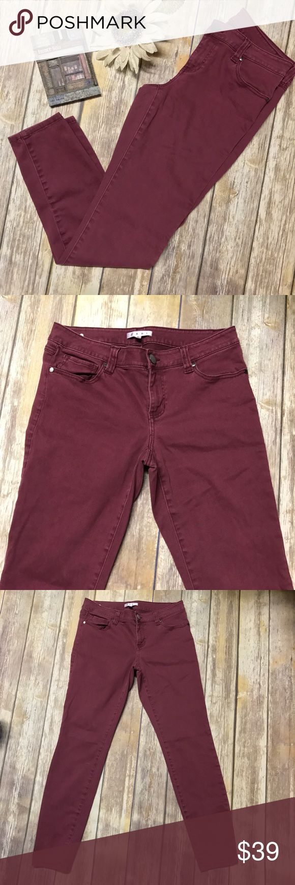 Cabi Bordeaux Wash Skinny Jeans GUC. A cotton blend softens these flattering skinny jeans, rendered in a sophisticated hue.  Super cute paired with the Cabi Ginger Top in my closet! Merlot/Burgandy in color. 90% cotton, 8% elasterell-p,2% spandex. Machine washed, laid flat to dry. 💰Reasonable offers considered. Photos may not be used without permission. All rights reserved. ⬇️6/19 CAbi Jeans Skinny