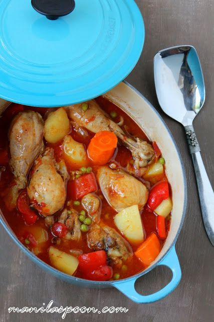Tender and delicious chicken slowly simmered in seasoned tomato sauce - CHICKEN AFRITADA! Enjoy with some rice and drizzle the sauce all over!  This is a favorite Sunday stew! #afritada | manilaspoon.com