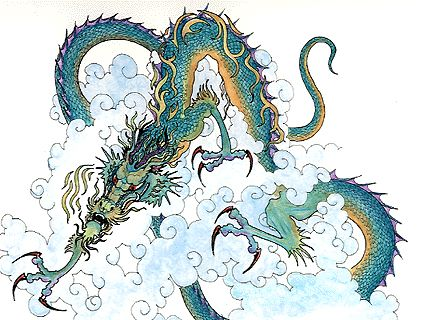Jiaolong, dragon of floods and the sea in Chinese mythology. Blue-green dragon by Aignatius