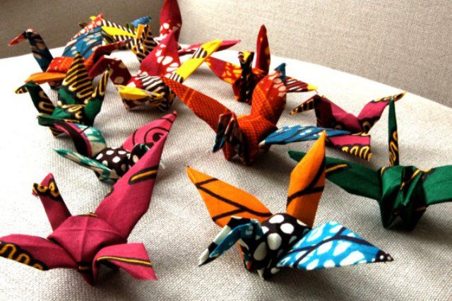 Origami Birds made from African Wax Fabric by Sister Batik
