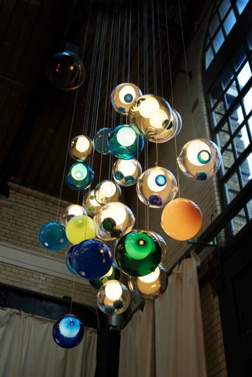 Colored glass orb pendants by Bocci (28 series collection).