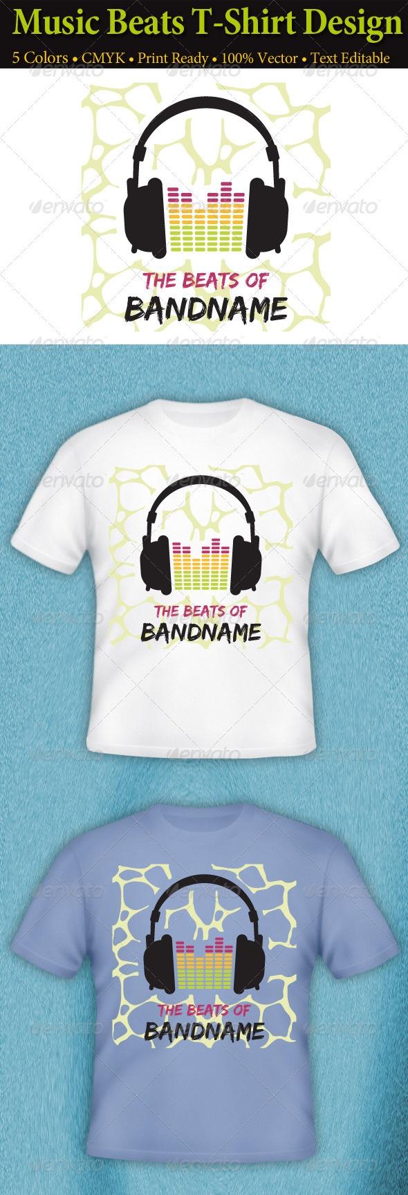 White t shirt design ideas - Music Beats T Shirt Design
