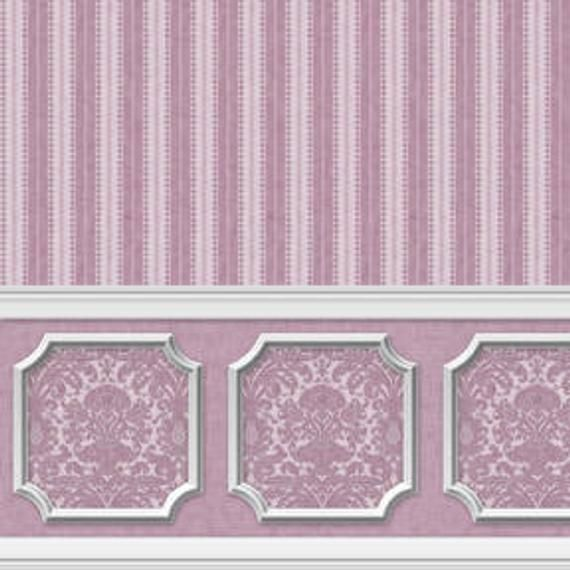 Dollhouse Peel And Stick Miniature Wallpaper Damask Stripe Purple Orchid Wainscot In 2021 Doll House Wallpaper Doll House Wainscoting